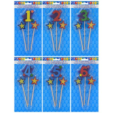 Number Birthday Candles On A Stick 3 Pc Packs