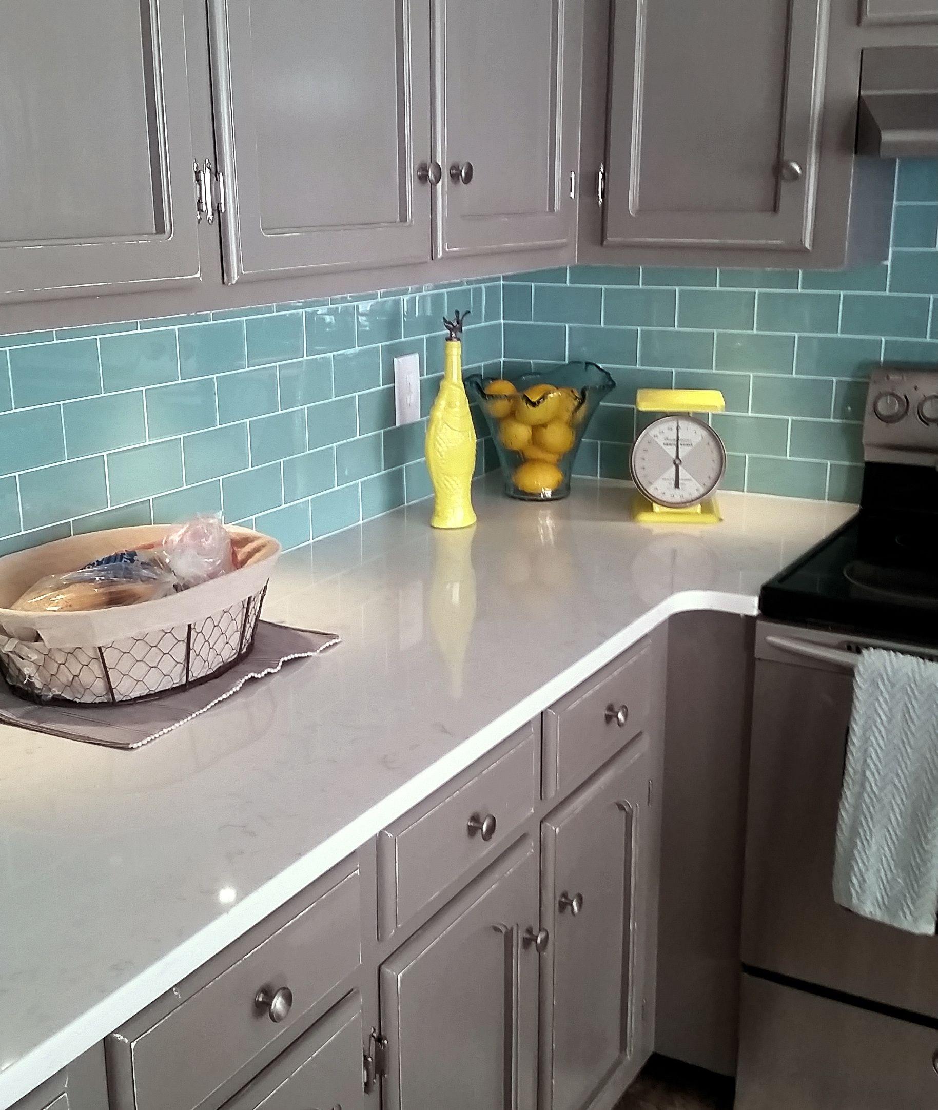 Sage Green Glass Subway Tile Trendy Kitchen Backsplash Kitchen