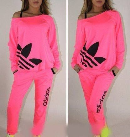 a5e370f1b690 Neon pink adidas tracksuit ... love the massive logo on it  )) x ...