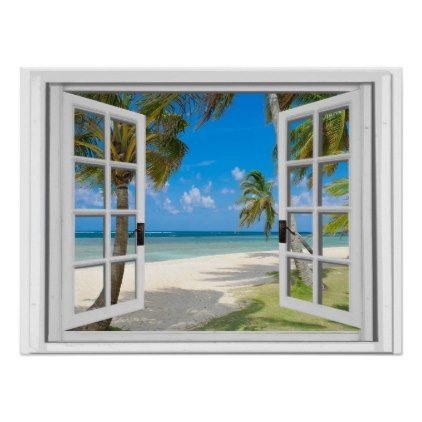Fake Window With Palm Trees On Beach Ocean View Poster   Office Decor  Custom Cyo Diy