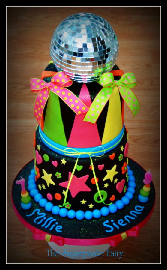 Fantastic Neon Disco Cake With Images Neon Birthday Cakes Disco Cake Birthday Cards Printable Riciscafe Filternl