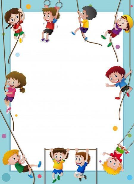ภาพพ นหล งกรอบร ปการ ต น Kids Climbing Paper Template Kids Background
