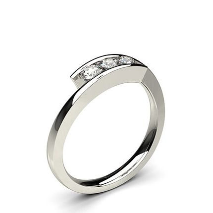 Shop Channel Setting Studded Three Stone Ring Online Uk With 18k White Gold 0 30 Carat At Engagement Rings Bespoke Diamond Engagement Ring Clean Gold Jewelry