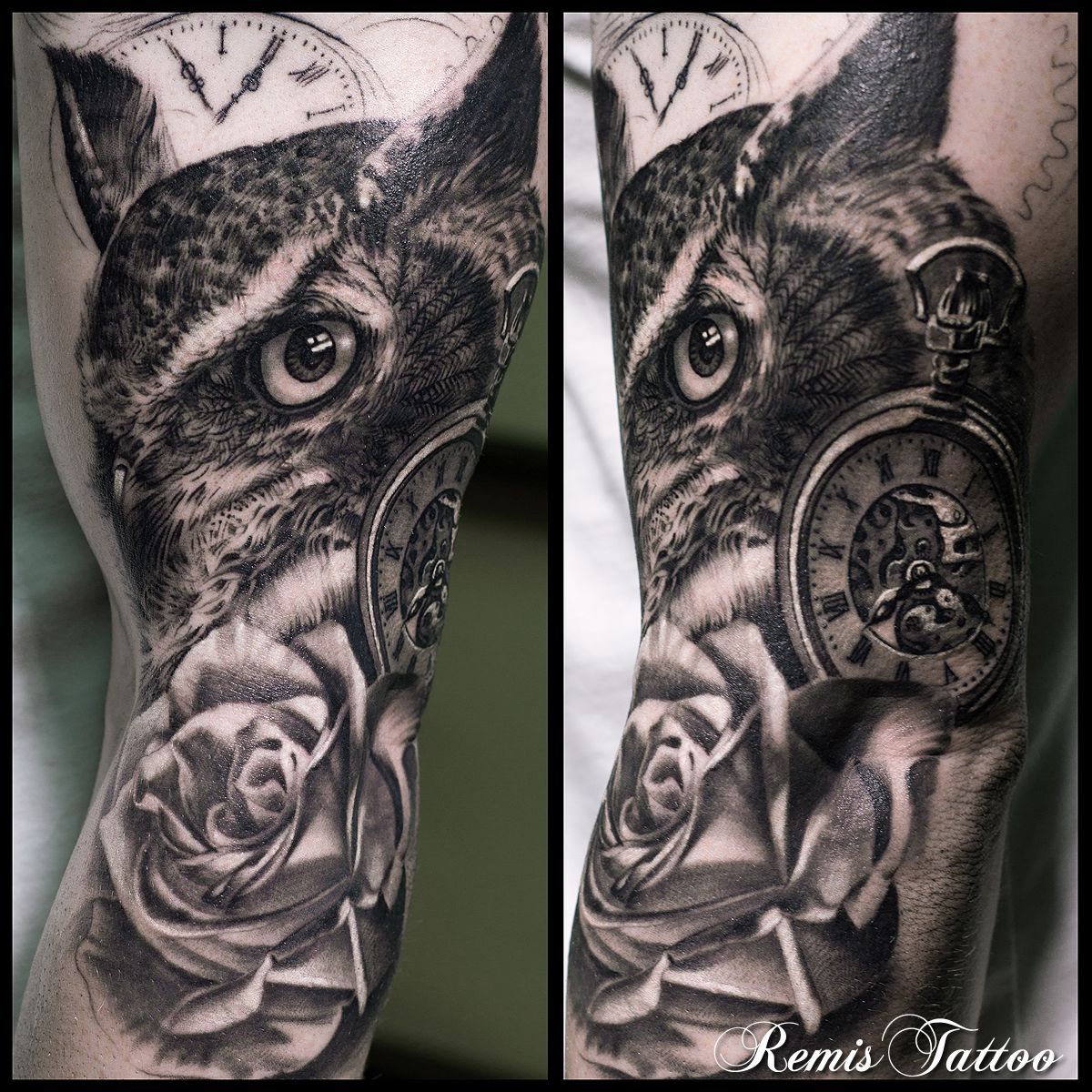 black and grey owl tattoo by Remis, remistattoo, realism ...
