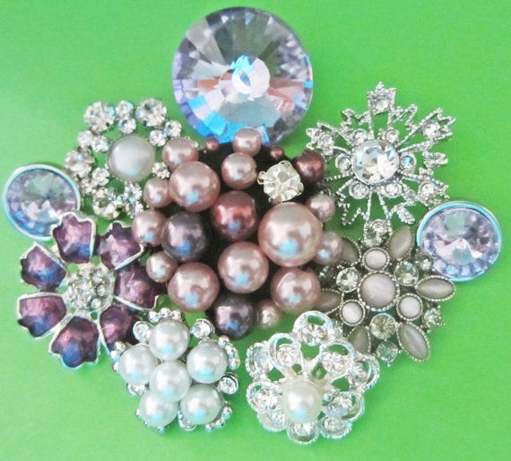 9 assorted clear purple tone rhinestone/ pearl by chicbuttons