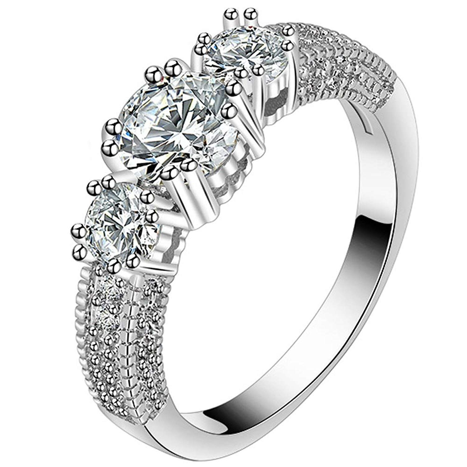 Lwjyx Women S Round Cubic Zirconia 3 Stone White Gold Ring Wedding Band For Bridal Size 6 9 Thanks A L Gold Band Wedding Ring White Gold Rings Wedding Bands