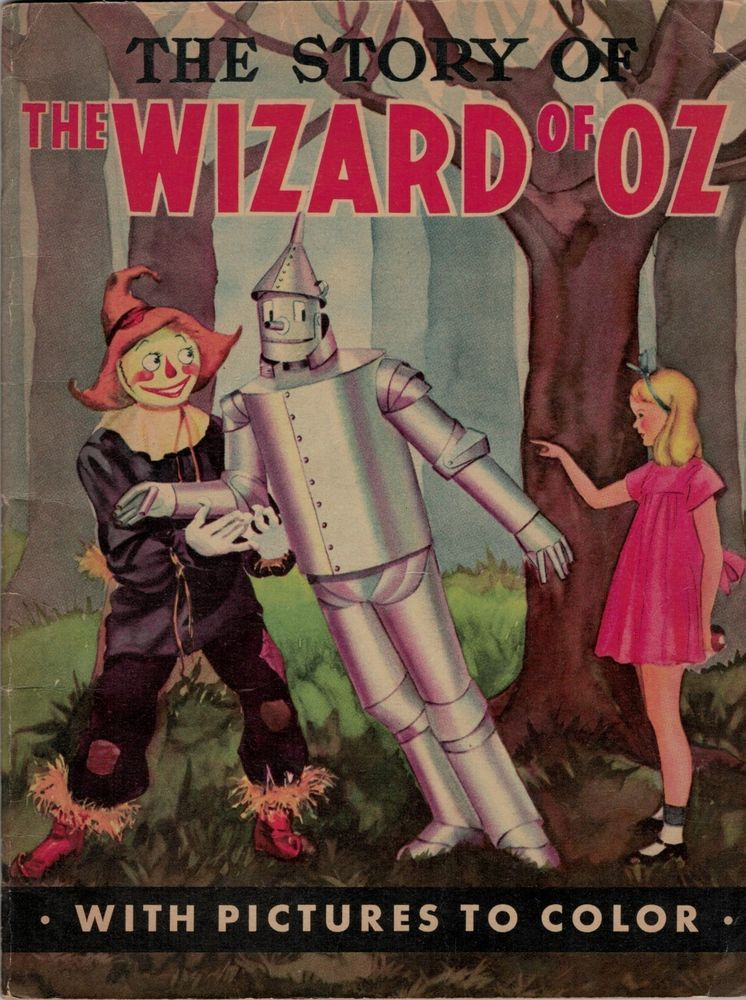 The Story Of Wizard Oz With Pictures To Color Rare Childrens Coloring Book 1939