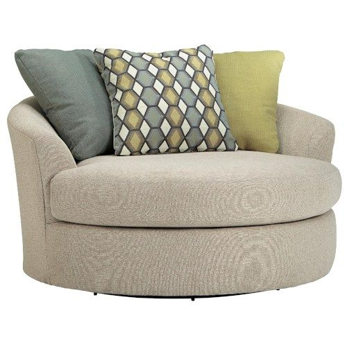 Superior Benchcraft Casheral Round Oversized Swivel Accent Chair With Loose Back  Pillows