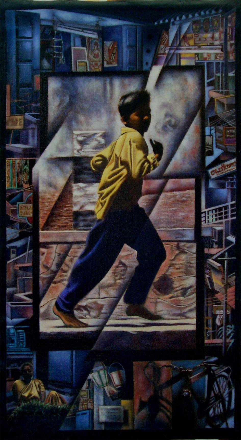 TWILIGHT IN KERALA / Dimensions : 47 cm x 83 cm / Techniques de réalisation : Huile / Date de création : 1999 / Support : Toile / Tarif : http://www.art-acquisition.com/fr/content/twilight-kerala