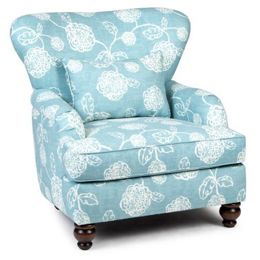 Ocean Blue Floral Accent Chair   Adele Collection