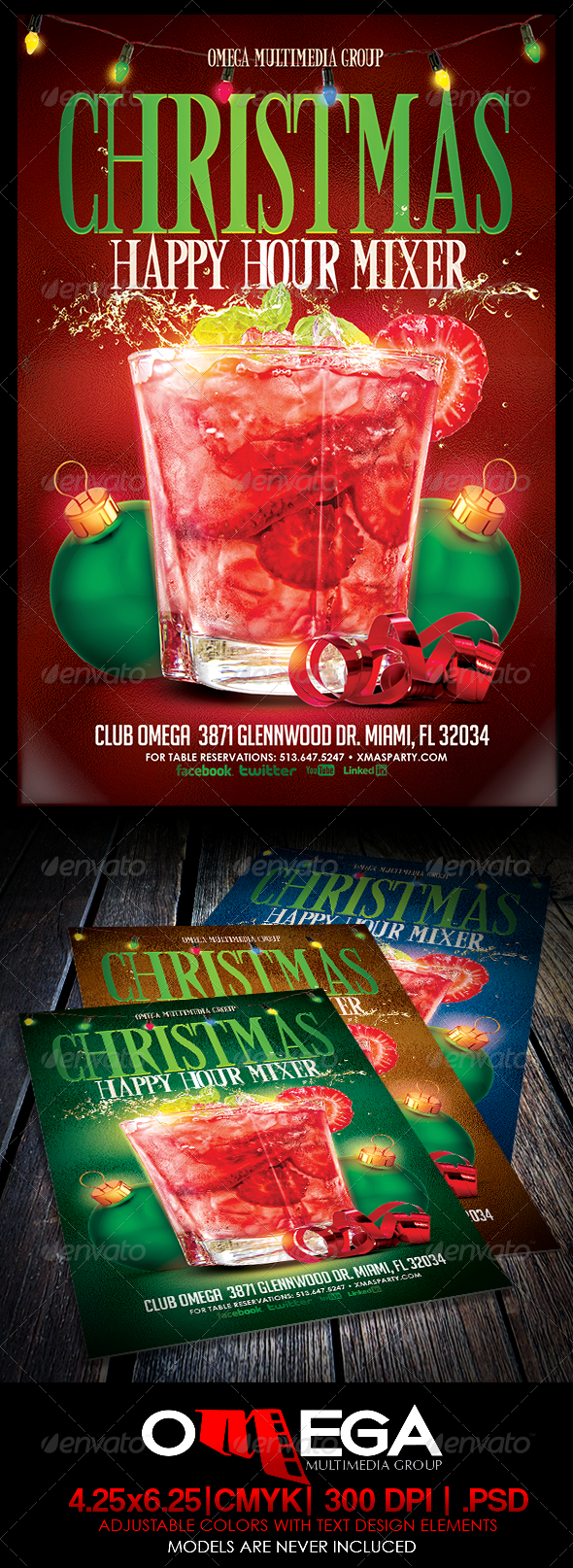Graphicriver christmas happy hour mixer 6360923 for 48 hour print templates