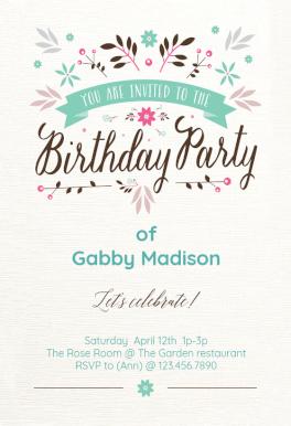 Flat Floral Free Printable Birthday Invitation Template