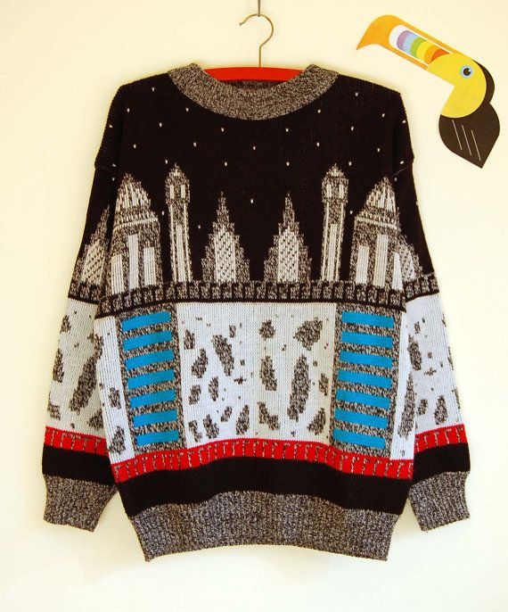 Vintage Oversized Sweater with Cityscape Theme by TukanVintage