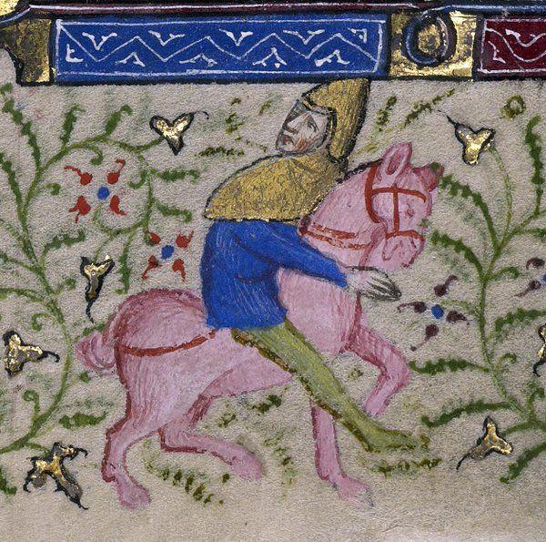 Pink pony, book of hours, Paris ca. 1410 (LA, Getty Museum, Ms. Ludwig IX 5, fol. 64v)
