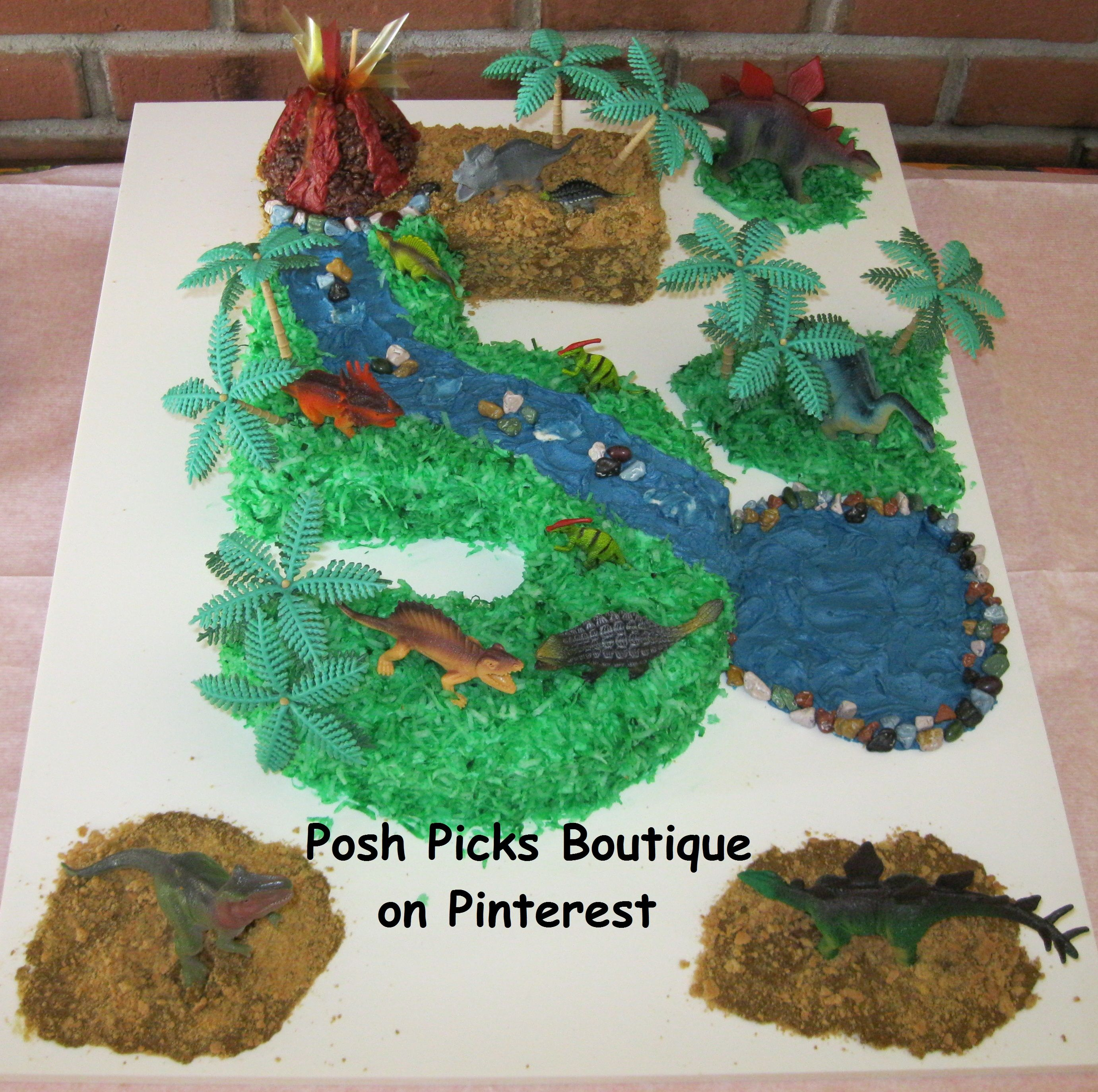 Dinosaur Land Dinosaur Volcano Number 5 Birthday Cake