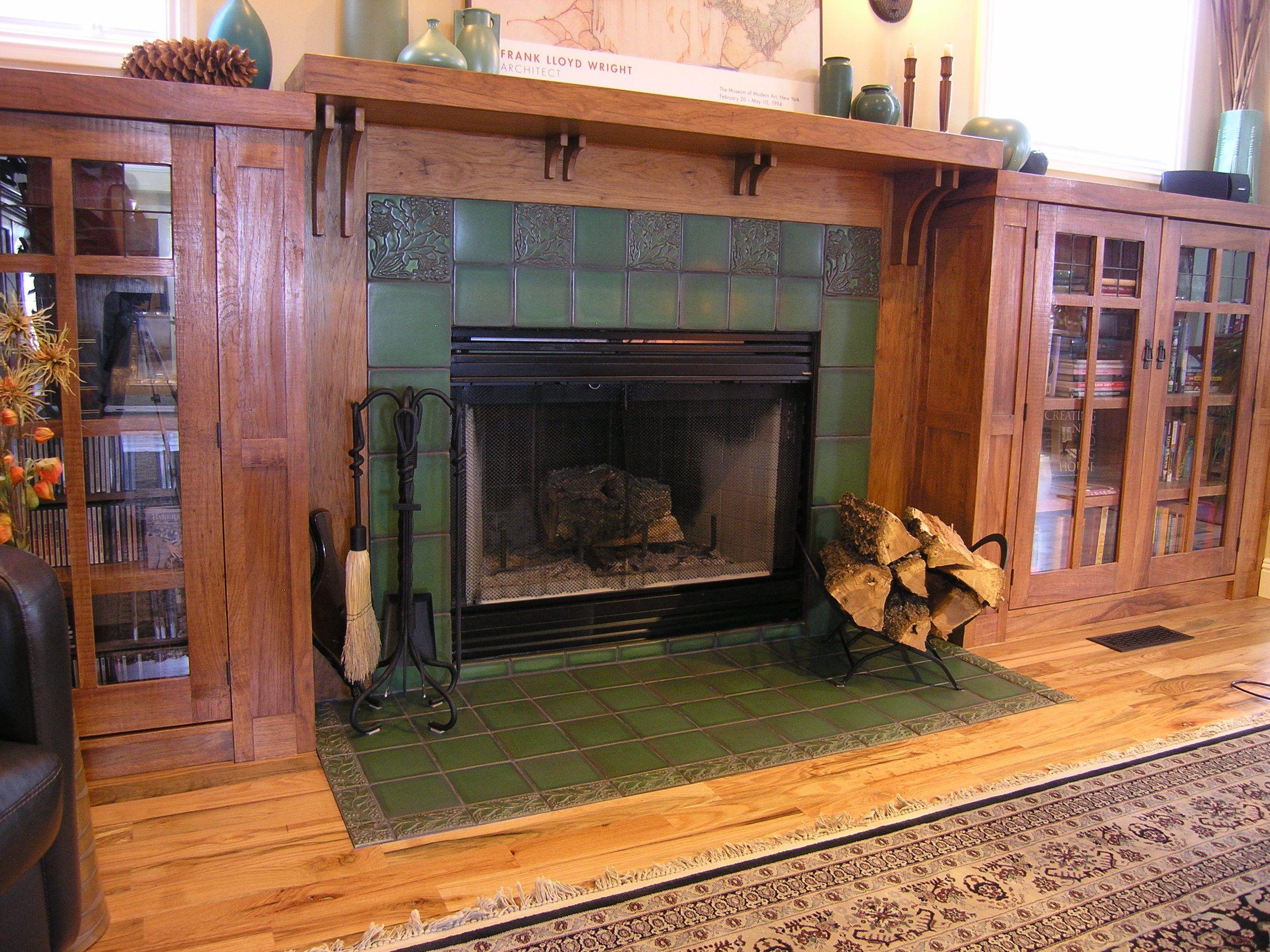 Motawi Leaves & Berries Fireplace in Lee Green glaze # ...