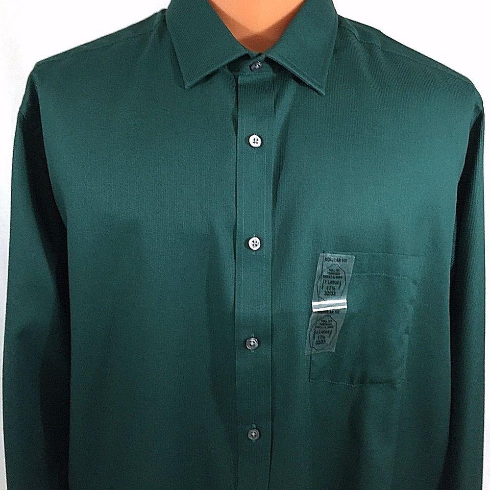 Van Heusen Dk Green Flex Collar Dress Shirt 17.5 XLarge 32 33 Sleeve ...