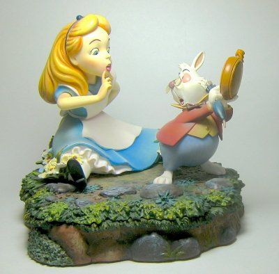 Alice and White Rabbit figurine with secret compartment