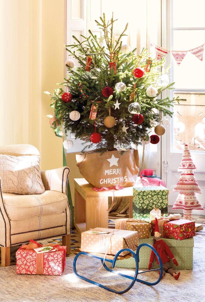 En Un Saco Personalizado Decoracion Navidena Ideas Para Arboles De Navidad Mini Arbol De Navidad