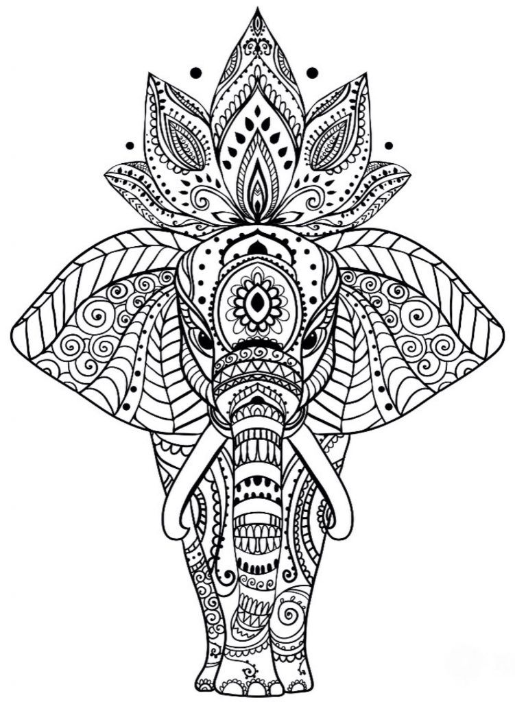 Coloring Pages For Adults Elephant Coloring Page Mandala
