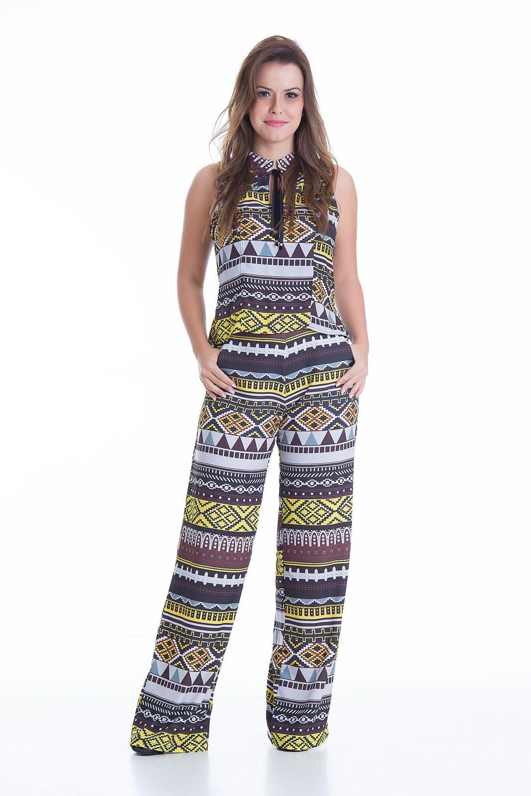 eed6b777f Estampas · Feminino · Conjunto estampado calça e blusa. Macacões Longos,  Blusinha Estampada, Macacão Curto, Macacão