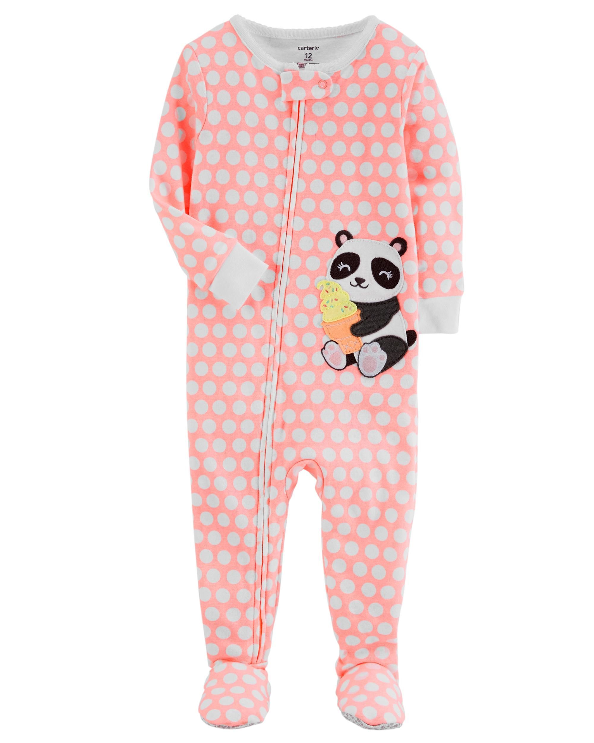 44e7fb9ea93b 1-Piece Neon Panda Snug Fit Cotton PJs