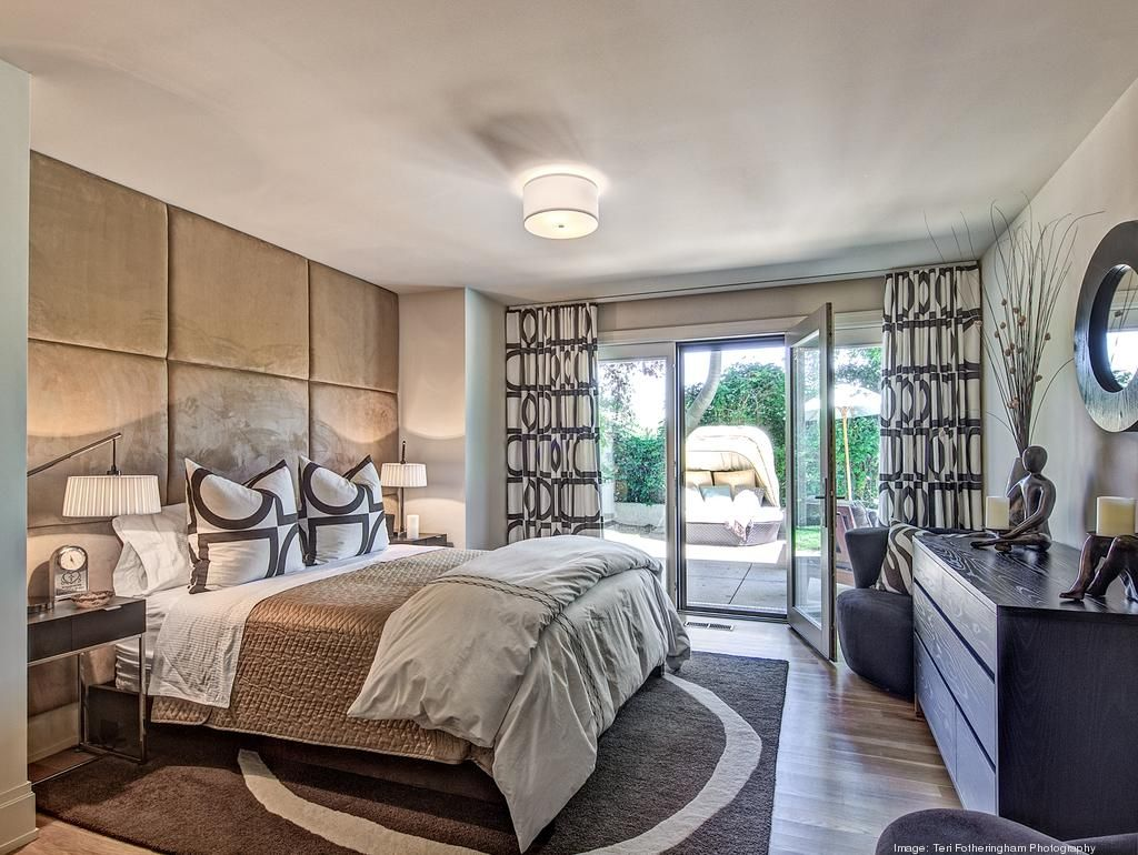 Modern bedroom on the walkout level makes for easy access ...