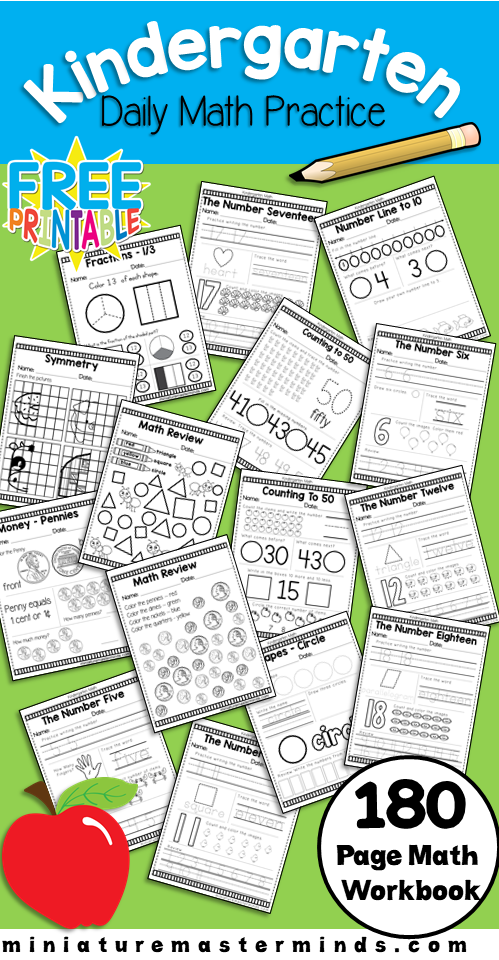 Kindergarten Daily Math Practice Worksheets – 180 Page Work Book