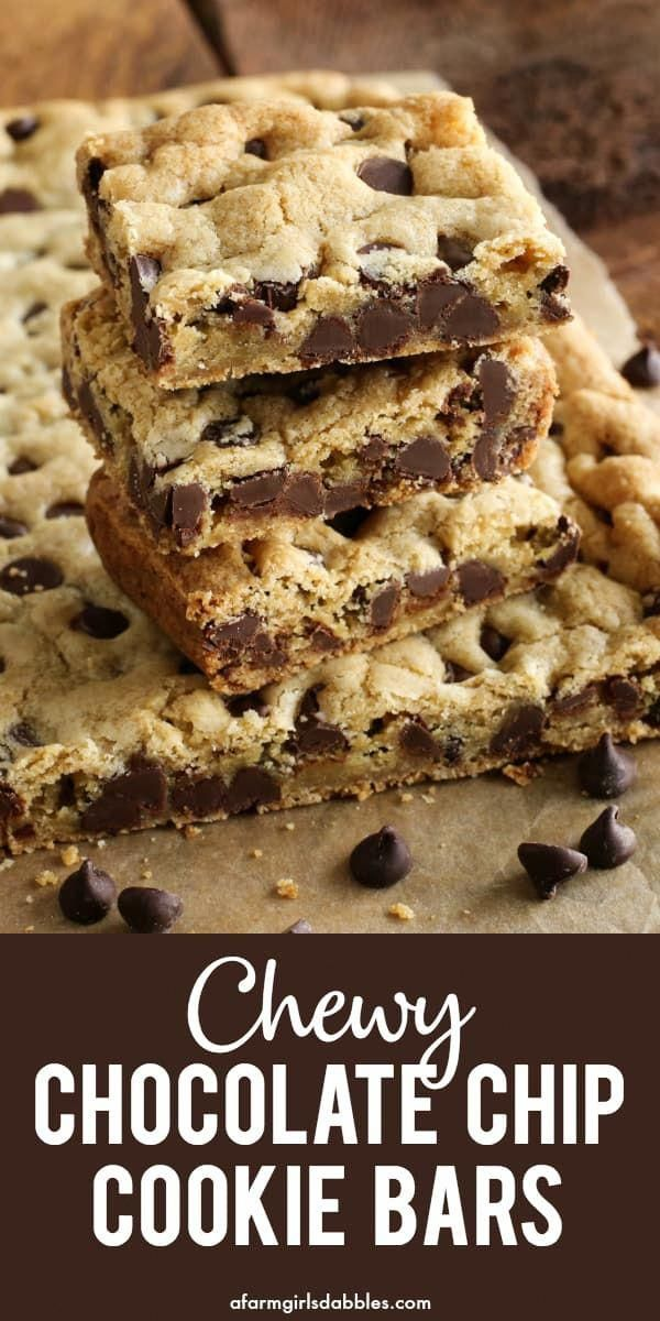 Chewy Chocolate Chip Cookie Bars from  A quick and easy chocolate chip cookie recipe baked in a pan No mixer and no chilling Youll love how soft and buttery and chewy the...