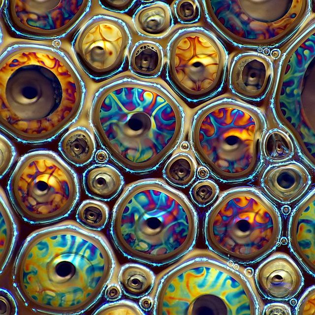 Colorful Foam Reflections Explored Microscopic Photography