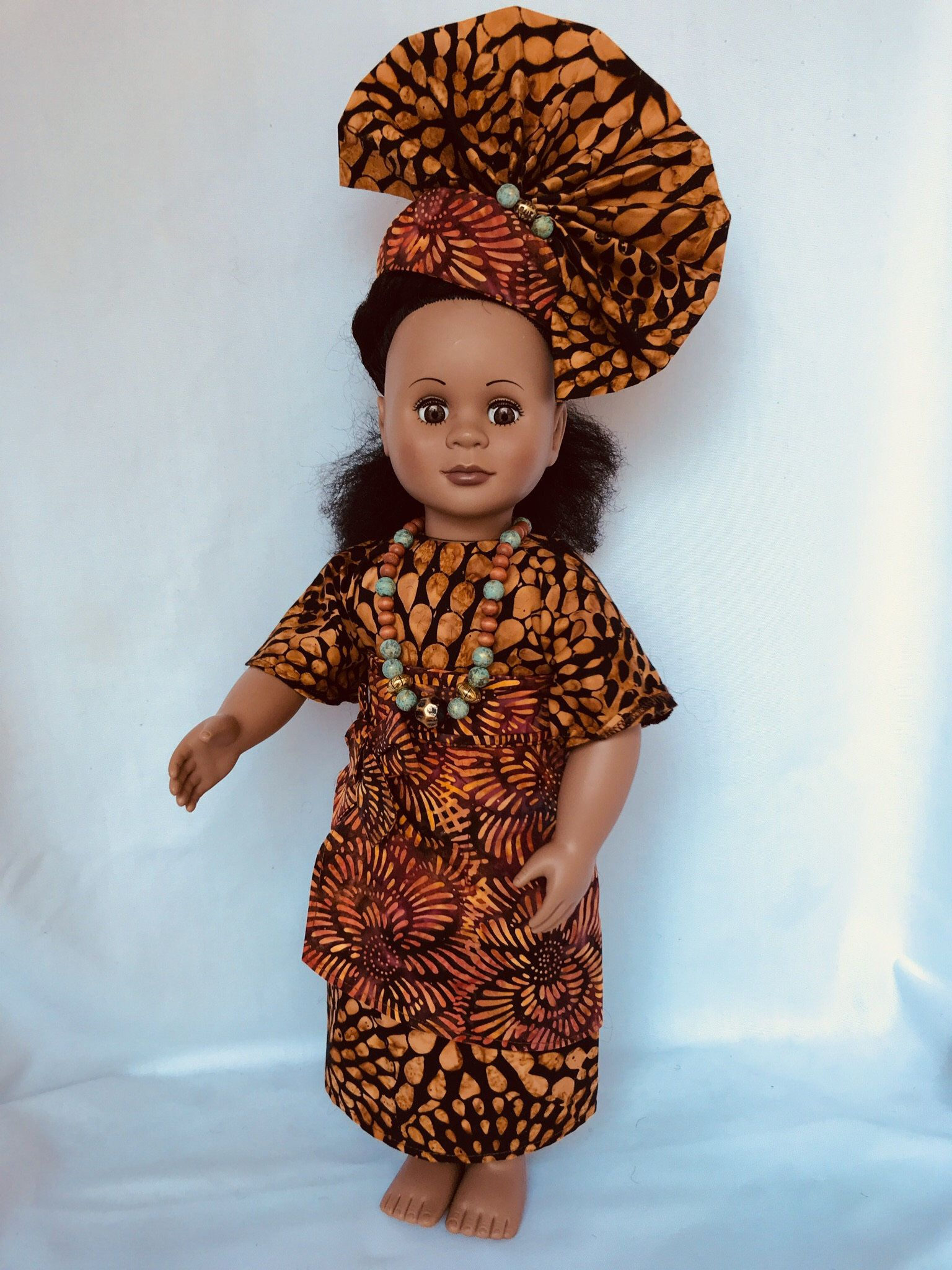 18 inch Doll Handmade clothes Fits American Girl Doll Vibrant African Print Maxi Skirt with front belt tied into a bow