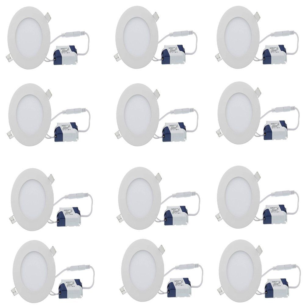Buy Galaxy 6 watt round White slim panel light with driver pack of 12 Online at Low Prices in India - Amazon.in