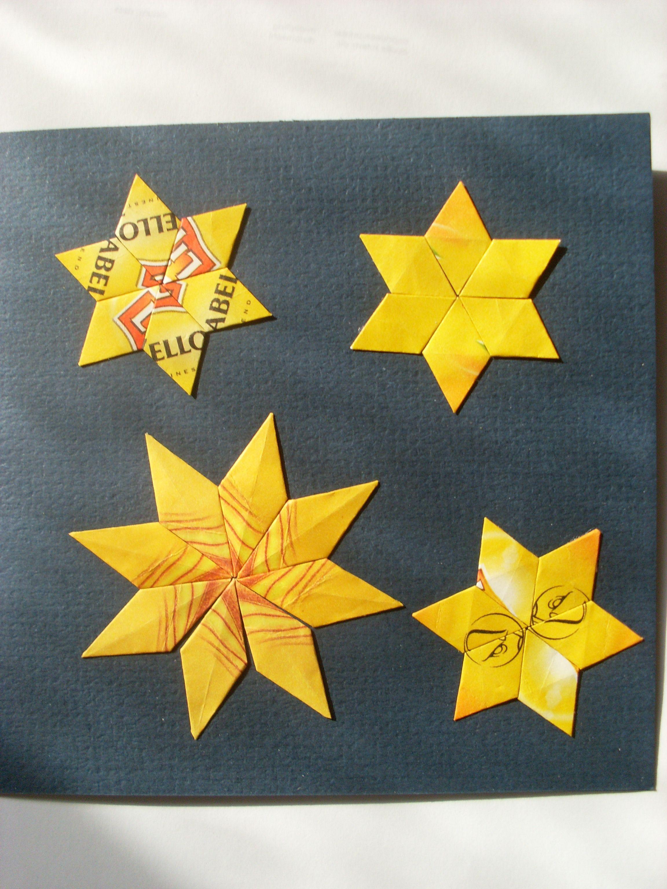 Christmas card stars teabag folding origami Kerstkaart sterren