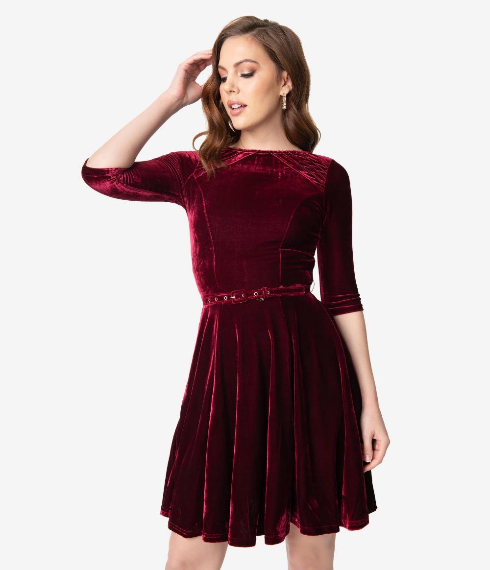 Unique Vintage Merlot Red Velvet Half Sleeve Fit Flare Dress Dresses Vintage Inspired Dresses Vintage Dresses Online [ 1164 x 1000 Pixel ]
