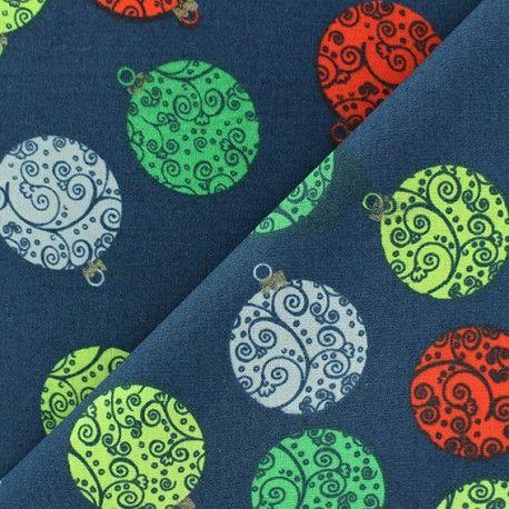 tissu noel boules arabesques fond bleu