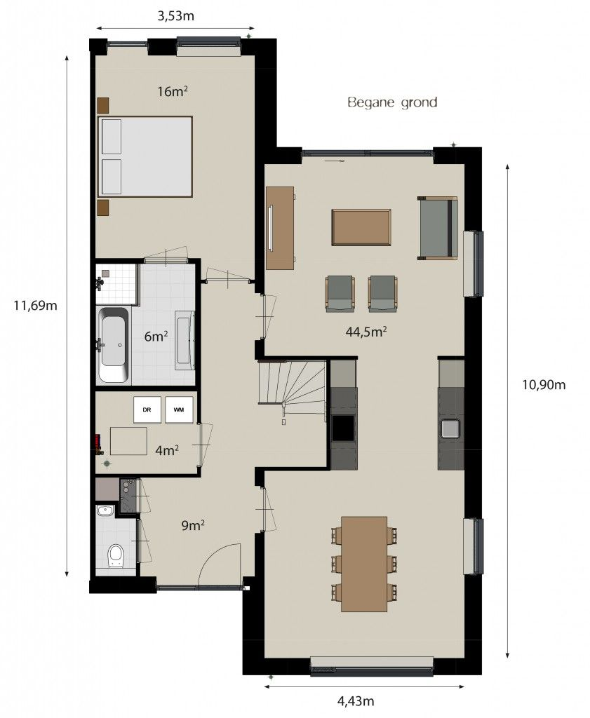 Plattegrond woning keuken in het midden google zoeken for Ontwerp plattegrond