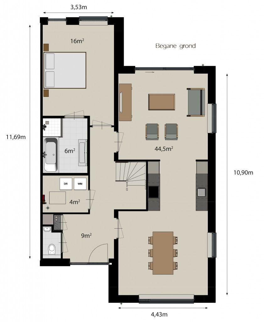 Plattegrond woning keuken in het midden google zoeken plattegrond woningen pinterest - In het midden eiland keuken ...