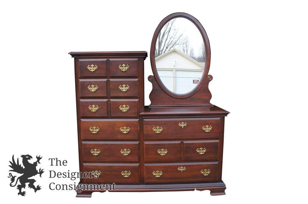 Vintage Kincaid Queen Anne Style Mahogany Double Dresser High