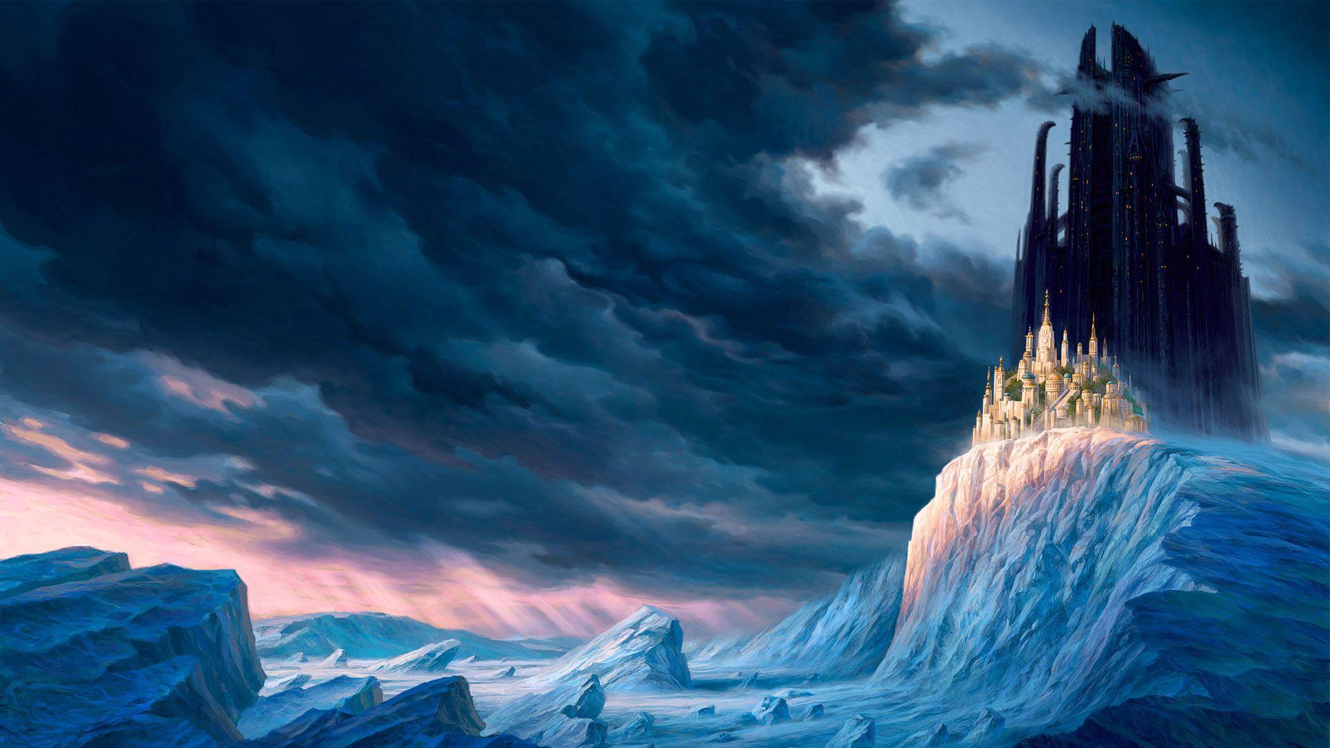 Hd Pics Photos Beautiful Castle Fantasy Snow Ice Winter Sky Hd Quality Desktop Background Wallpaper Fantasy Landscape Fantasy Castle Scenery Wallpaper