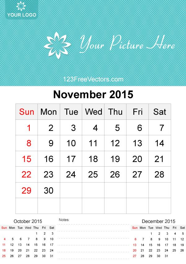 November 2015 Calendar Template Vector Free 2015 Calendar Template