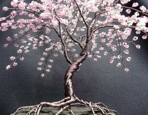 Cherry Blossom Beaded Bonsai Wire Tree Sculpture By Cassandraz Wire Tree Sculpture Wire Tree Wire Trees