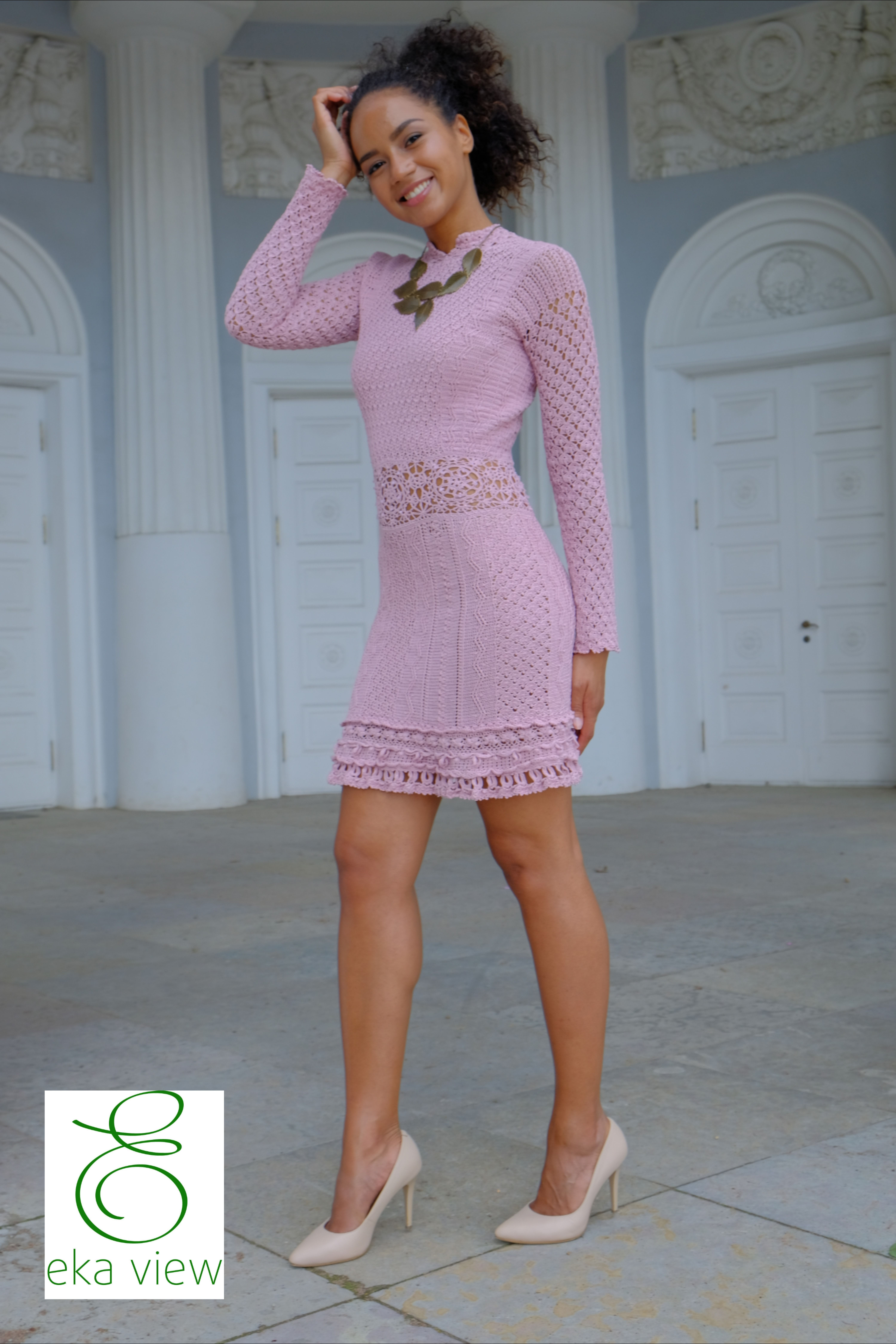 Little pink dress Fashion crochet look Ideally wedding guest outfit Decor with crystals Swarovski