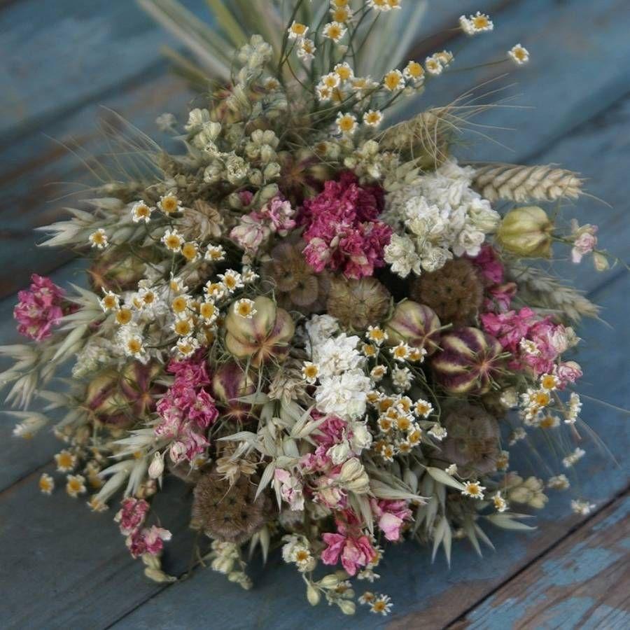 Dry Wedding Flowers: Country Dried Flower Wedding Bouquet