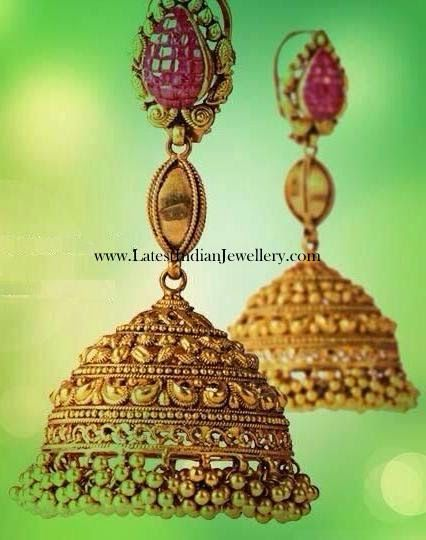 Gold Jhumkas with Ruby Tops