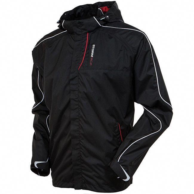 47c1f05d096 AUR Stormpack Waterproof Golf Jacket Black  mensgolfclothes Mens Golf  Outfit