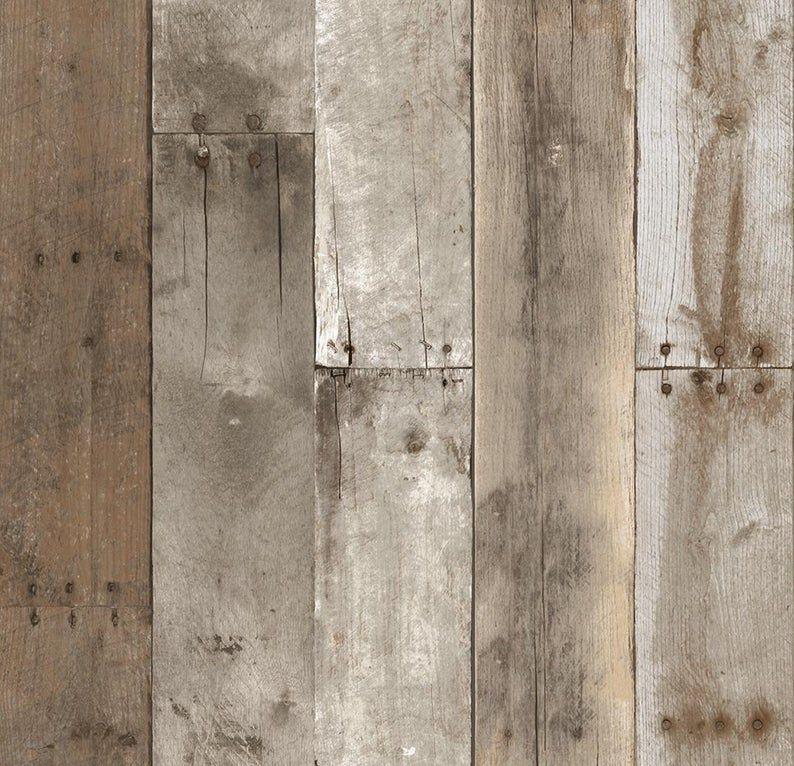 Rustic Reclaimed Wood Shiplap Wallpaper Distressed Barnwood Plank Peel Stick Removable Re555so Wood Wallpaper Repurposed Wood Distressed Wood Wallpaper