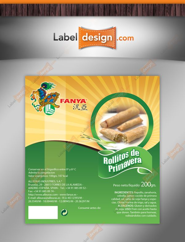 Label design for food product in Spain. http://www.labeldesign.com ...