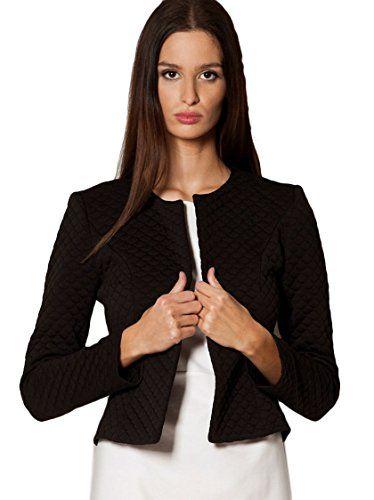 57ee854b899b Femme Veste Courte Femmes Vestes Blazer Chic Casual Tailleur Elégante Veste-Boléro  (208) (42 XL Noir)