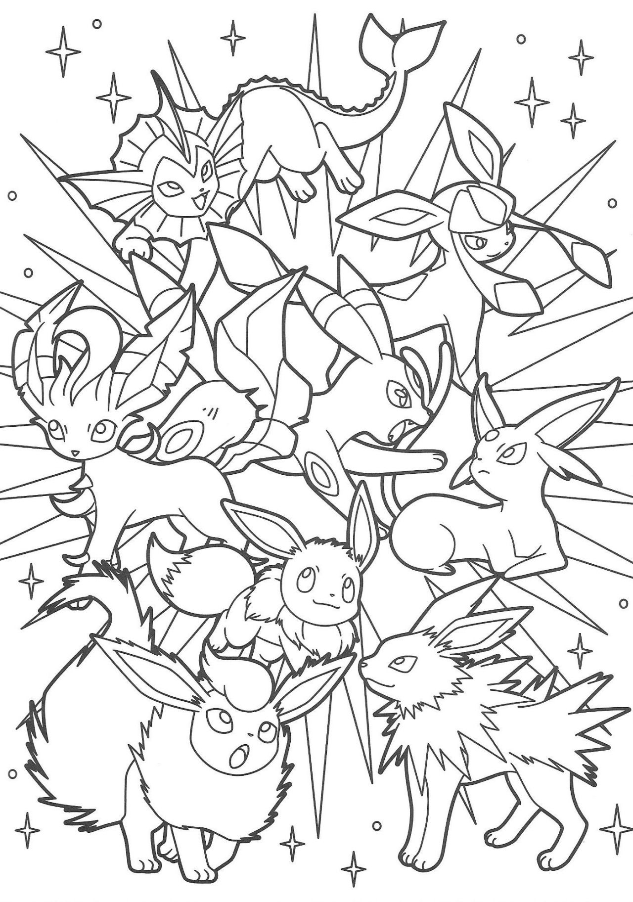 pokemon coloring pages eevee - pok mon scans from pacificpikachu 39 s collection coloring