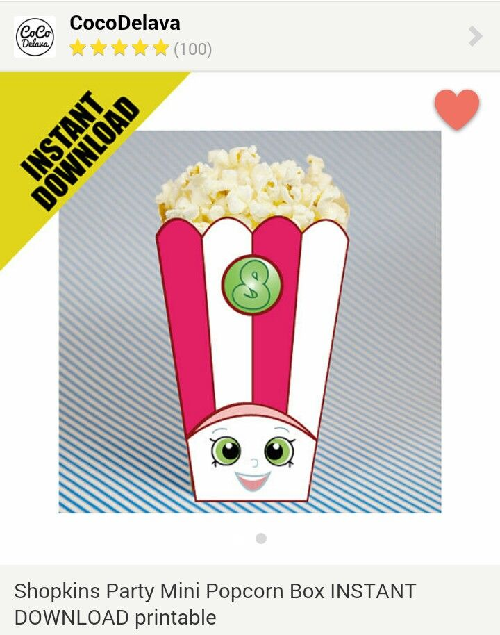 Poppy Corn Printable Popcorn Box   Etsy